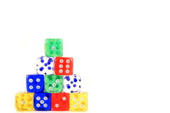 Colorful stacked die Stock Images