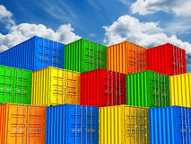 Colorful stacked freight shipping containers Stock Photo