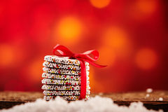 Colorful stacked gift of Christmas biscuits Royalty Free Stock Photo