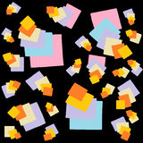 Colorful Stacked Squares On Black Background. Colorful stacked squares and rectangles of different sizes looking like files on black background Royalty Free Stock Photos