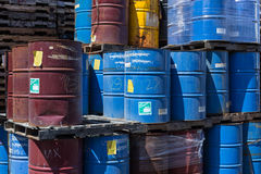 Colorful stacked steel barrels Royalty Free Stock Image