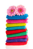 Colorful stacked towels Stock Photo