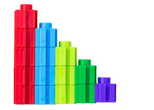 Colorful stacked toy plastic building blocks Royalty Free Stock Photos