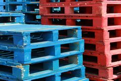 Colorful stacks of crate pallets Royalty Free Stock Photo
