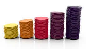 Colorful stacks of plates. Colorful stack of plates in a chart-like composition. 3D render Royalty Free Stock Image