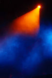 Colorful stage background. With smoke stock photography