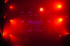 Colorful stage light background. Stage lights of different colors, background of glowing red spotlights royalty free stock photos