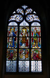 Colorful stained glass in church. Royalty Free Stock Photography