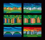 Colorful stained glass. Geometric drawings of the city, bridge, trees in the park. Vector graphics. Blanks for printing on glass Royalty Free Stock Image