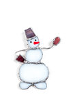 Colorful stained glass hand-made snowman Stock Photo