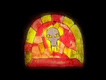 Colorful stained glass - mythological evil head Stock Photo