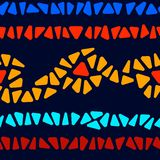 Colorful stained glass triangle shape mosaic geometric seamless border pattern, vector Royalty Free Illustration