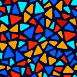 Colorful stained glass triangle shape mosaic geometric seamless pattern, vector Royalty Free Illustration