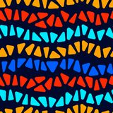 Colorful stained glass triangle shape mosaic stripes geometric seamless pattern, vector Stock Illustration