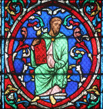 Colorful stained glass window in Cathedral Notre Dame de Paris Royalty Free Stock Images