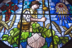Colorful stained-glass window in church in Granon Stock Photos