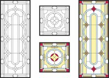 Colorful stained glass window in classic style for ceiling or door panels, Tiffany technique. Abstract geometric floral pattern in a rectangular and square royalty free illustration