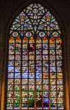 Brussels Cathedral Stained Glass Windows Stock Images