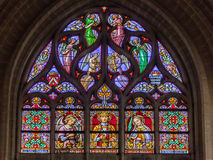 Brussels Cathedral Stained Glass Windows Stock Photography