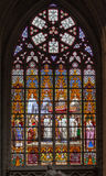 Brussels Cathedral Stained Glass Windows Stock Image