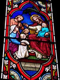Colorful stained glass window. Jesus blessing little children stained glass window Royalty Free Stock Photos