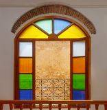 Colorful stained glass window in the portuguese hotel, Morocco Royalty Free Stock Image