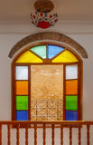 Colorful stained glass window in the portuguese hotel, Morocco Stock Images