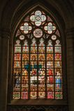 Colorful stained glass window in the St. Michael and St. Gudula Cathedral at Brussels. stock photos