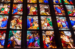 Colorful stained-glass windows in Duomo (Cathedral) in Milan Royalty Free Stock Photos