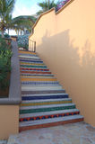 Colorful staircase. Colorful steps with mosaic decor in East Cape, Baja Mexico Royalty Free Stock Images