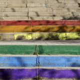 Colorful stairs like the rainbow in madrid with shadows Stock Image