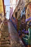 Multicolored Stairs in Valparaiso Chile Royalty Free Stock Photo
