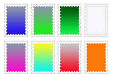 Colorful Stamp Backgrounds Set PNG. A set of eight stamp templates with blank colorful centers that you can easily customize for your icons or designs Royalty Free Stock Photo