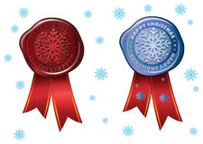 Colorful stamp with snowflake royalty free illustration