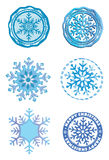 Colorful stamp with snowflake Stock Images