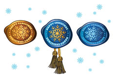 Colorful stamp with snowflake stock illustration