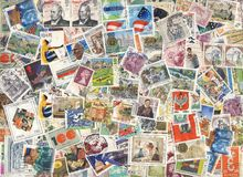 Colorful stamps background Stock Photos