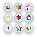 Colorful star, christmas & navidad, rating, 3d badge vector icon. S. This graphic also represents buttons with different types of stars, flowers, geometric Stock Image