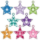 Colorful star collection with hearts Royalty Free Stock Photography