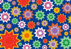 Colorful star flower on blue vector illustration