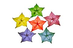 Colorful star fruit on white background Royalty Free Stock Photography