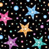 Colorful star with heart texture Stock Photos