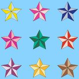Colorful star icons isolated on light blue background. Vector stars set. Colorful star icons isolated on light blue background. Stars set Stock Photos