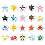 Colorful star icons isolated on white. Winter Christmas icons set- stars and sparkles Royalty Free Stock Image