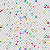 Colorful star isolated on transparent background. Confetti celebration.Falling stars abstract decoration for party, birthday celeb. Colorful star isolated on Stock Photos