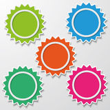 Colorful Star Paper Stickers Ring Empty Royalty Free Stock Photos