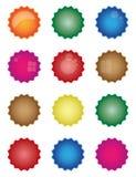 Colorful starburst badge shapes, starburst seals, glossy. Colorful starburst badge shapes, starburst seals, bright Royalty Free Illustration