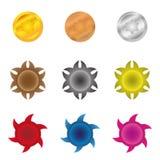 Colorful starburst badge shapes, starburst seals, glossy. Colorful starburst badge shapes, starburst seals, bright Stock Illustration