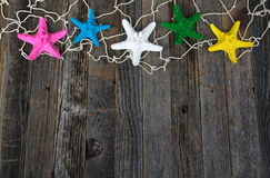 Colorful starfish in netting Royalty Free Stock Image