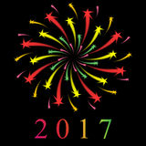Colorful Starry Firework on Black. New Year 2017. Vector Illustration Royalty Free Stock Image